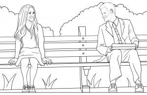 Children's Colouring Book - Harry and Megan Forest Gump Illustration
